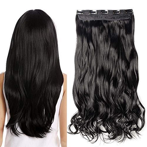 TESS Haarteil Clip in Extensions wie Echthaar Schwarz Haarverlängerung 1 Tresse 5 Clips günstig Gewellt Haarverdichtung 27