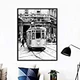Rudxa Paris Bus Wall Art Canvas Painting Black White Posters and Prints Wall Pictures For Living Room Decor-50x70cmx1 pcs sin Marco