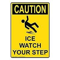 垂直OSHAコーション氷時計あなたのステップサイン金属標識通知サイン