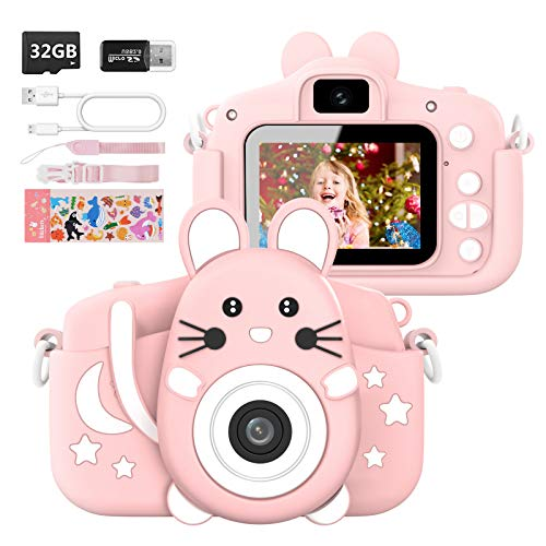 Kids Camera for Boys and Girls, 20.0MP Digital Camera for Kids with 2.0 Inch IPS Screen 1080P Video Camcorder Anti-Drop Children Cartoon Selfie Dual Camera Toy with 32GB SD Card Age 3-12 Years,Pink