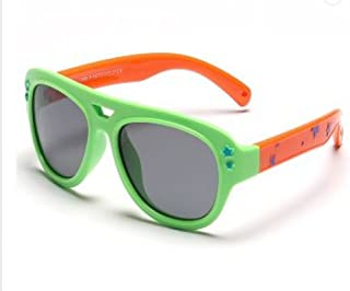 Skiworx Sports Polarized Sunglasses Silicon Flexible Frame for Boys and Grls. Color Green Pink