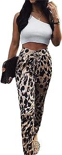 Symina Frauen Leggings Hosen Leopardenmuster Lange Hose Jogger Hosen Kordelzug Elastische Taille Hosen Weihnachten