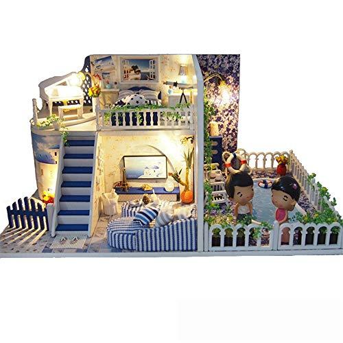LERDBT Puppenstuben Mini Green House mit LED Holzhandwerk Baukasten-Holz-Modellbau Set-Mini House Handgefertigte Geschenke beständiger gegen Staub (Color : Multi-Colored, Size : 30.4x19.4x14.3cm)