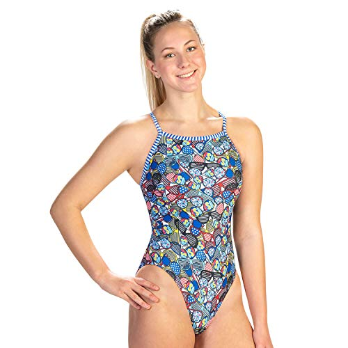 Dolfin Uglies Womens V2 Back One Piece Swimsuit, Shades, 38