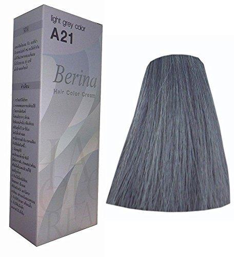 Berina Hair Color Cream Permanent A21 -Light Gray color