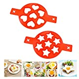 Pancake Mold Makers, Silicone Kitchen Nonstick Baking Mold Heart and Star Shaped, Egg Muffin Pancake Mould, 2 Pack