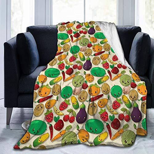 NOLOVVHA Manta de Cama,Varias Verduras y Frutas con Comida Sana Kawaii se enfrentan como Personajes Dulces,Sofá Cama de Microfibra para Todas Las Estaciones,50' x 60'