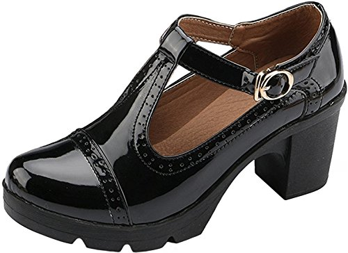 PPXID Women's British Style T-Bar Platform Heeled Oxford Shoes Work Shoes-Black 6 US Size