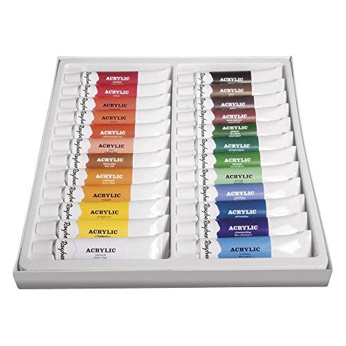 Rayher Hobby 38926000 Künstler-Acrylfarben-Set, 24 Farben, je Tube 12 ml, ideal für Keilrahmen, Papier, Pappe, Malkarton, Pappmaché, Holz, Stein, Beton, für Einsteiger und Profikünstler
