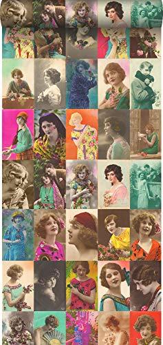 behang XXL vintage ansichtkaarten met vrouwengezichten meerkleurig - 158102 - van ESTAhome