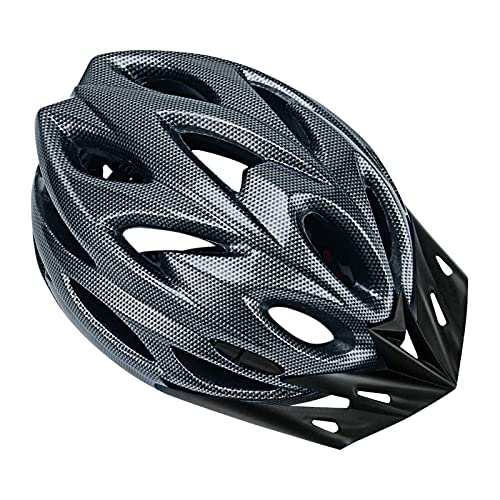 Cycling Helmet, Unisex Waterproof Sun Protection Lightweight Universal Bike Helmet with Adjustable Nylon Chin Strap, Strong Plastic Longer Brim Cycle Helmet for BMX Skateboard MTB Mountain Road Bike