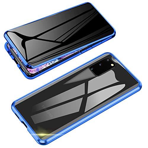 Jonwelsy Anti-Spy Cover per Samsung Galaxy S20, 360 Gradi Protezione Case, Privacy Vetro Temperato Anti Peep Custodia, Adsorbimento Magnetico Bumper Metallo...