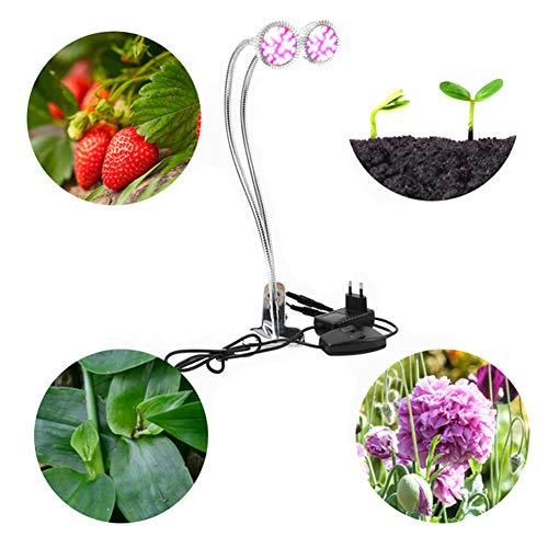 Mlightting@ Led-plantenlamp, 9,5 W, dubbele kop, clip, ledlamp, geschikt voor tuin, bloemen, balkon, kas, kamer, kantoor, outdoor