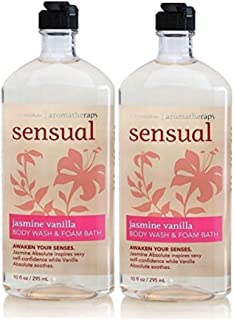 Lot of 2 Bath and Body Works Sensual Jasmine Vanilla Body Wash & Foam Bath