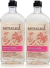 Lot of 2 Bath and Body Works Sensual Jasmine Vanilla Body Wash & Foam Bath