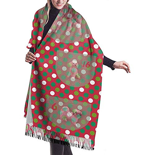 Cathycathy honden adventskalender sjaal wrap winter warme sjaal cape large soft sjaal wrap