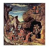 Cuadro en lienzo Andrea Mantegna La adoración de los Reyes Magos xxl Lienzo decorativo, pintura, decoración del salón, decoración de la pared, cuadro de pintura (60x60cm 24 'x24', sin marco)