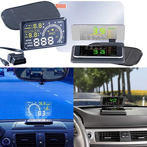 Lescars Auto HUD: Head-up-Display HUD-55C für OBD2-Anschluss mit Armaturenbrett-Ablage (Head Up Displays für Smartphones)