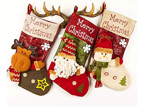 Surwin Calcetín De Navidad Bolsa De Regalo Medias Navidad Decoración, Colgante de árbol de Navidad Decoraciones para el hogar Adorno de Navidad Bolsa de Dulces (C,3)