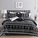 Linen Mart Aztec Comforter Sets - Luxury Full Size Microfiber Bedding for Queen and King Size Beds - Boho Black and White Patterns - 6 Piece Set
