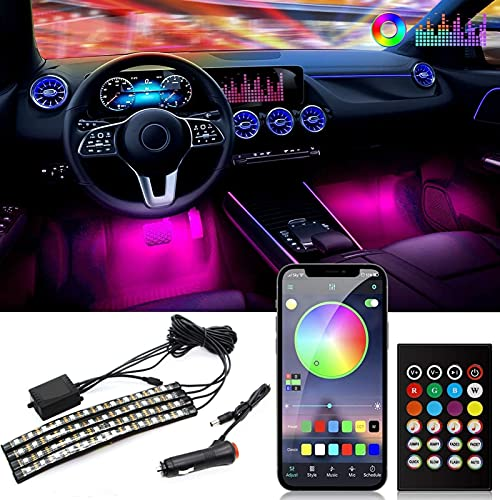 Luces interiores para automóvil,12 V,multicolor, música, luces LED para automóvil, luces debajo del tablero, kit impermeable con función activa de sonido y control remoto inalámbrico,4 piezas 48 LED