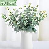 Whaline - 20 hojas artificiales de eucalipto, tallos sintéticos de verdor de plata, plantas de plástico para decoración