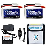 URGENEX 2S Lipo Battery 7.4v 1000mah 35C Lipo with JST Plug and Chargers RC Lipo Batteries for WLtoys Rc Cars A949 A959 A969 A979 K929 2 Pack with Fireproof Lipo Safe Bag