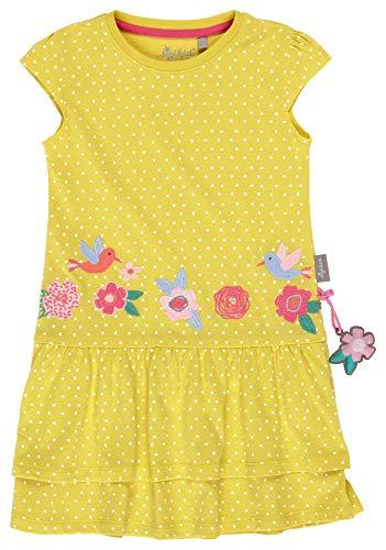 SIGIKID Mini - Mädchen Kleid Sommerkleid Kurzarm aus Bio-Baumwolle, abnehmbares Hangtoy, Gelb, 116