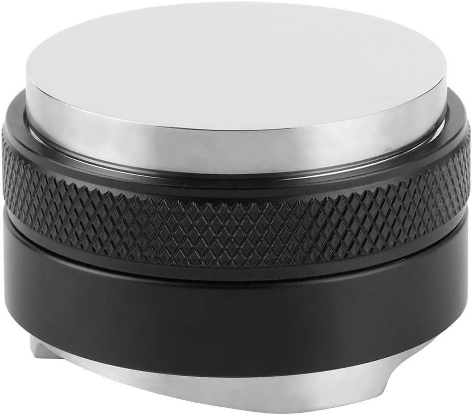 Distribuidor de caf/é de Acero Inoxidable 51 mm 53 mm 58 mm Herramienta niveladora de Distribuidor de Profundidad Ajustable de Doble Cabezal para caf/é expreso 51mm-Negro