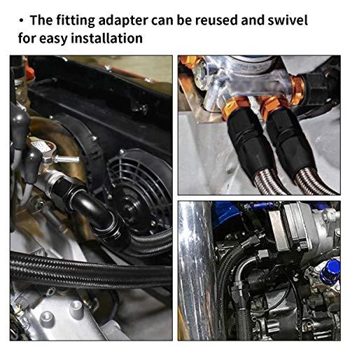 EVIL ENERGY 6AN Straight Swivel Hose End Fitting for Braided Fuel Line Aluminum Black