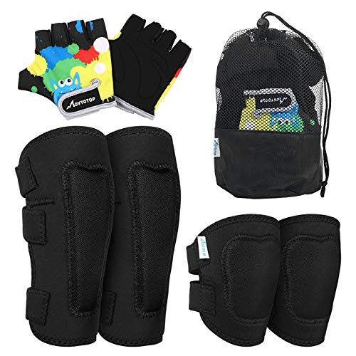 MOVTOTOP Knee Pads for Kids, Soft Kids Knee and Elbow Pads with Gloves Set-Reinforced Stitching Around, Toddler Sports Protective Gear with Mesh Bag for Kids Skateboard Rollerblading Bike Scoote