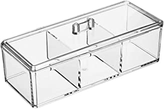 BESTONZON Tea Bag Holder Kitchen Pantry Cabinet Countertop Organizer Storage Bin Box with Dustproof Cover for Coffee, Tea, Sugar Packets, Sweeteners, Creamers, Drink Pods, Packets(Acrylic/3 Grids)
