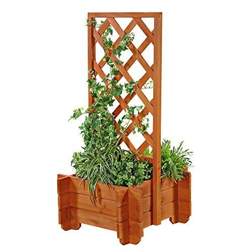 Melko Spalier mit Pflanzkasten 50x50x100 cm Pflanzkübel Blumenkübel Rankhilfe Rosenbogen Pflanztrog Braun