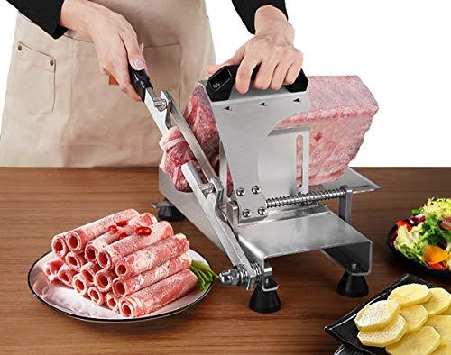 Poafamx 冷凍肉スライサー 手動 ステンレススチール 肉カッター 家庭用 牛肉 マトン ロール 肉 食品 スライス マシン ホットポット しゃぶしゃぶ (ST-100A)