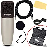 Samson C01 Large Diaphragm Vocal Condenser Microphone Bundle with Swivel Stand Mount, Carry Case, XLR Cable, Pop Filter, and Austin Bazaar Polishing Cloth