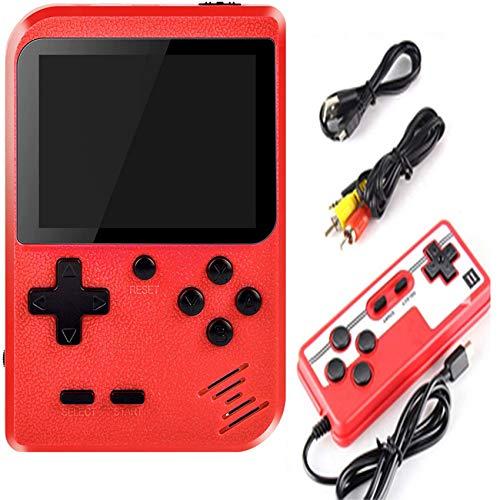 Malidily Console di Gioco Retro, Videogiochi Portatili con 400 Giochi Classici Schermo a Colori da 3 Pollici per 2 Giocatori Supporto TV Console, Regali per Adulti e Bambini (Rosso)