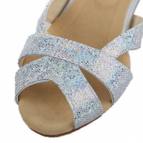 JIA JIA Y2054 Damen Sandalen Ausgestelltes Heel Super-Satin mit Pailletten Latein Tanzschuhe Silber, 42 - 7