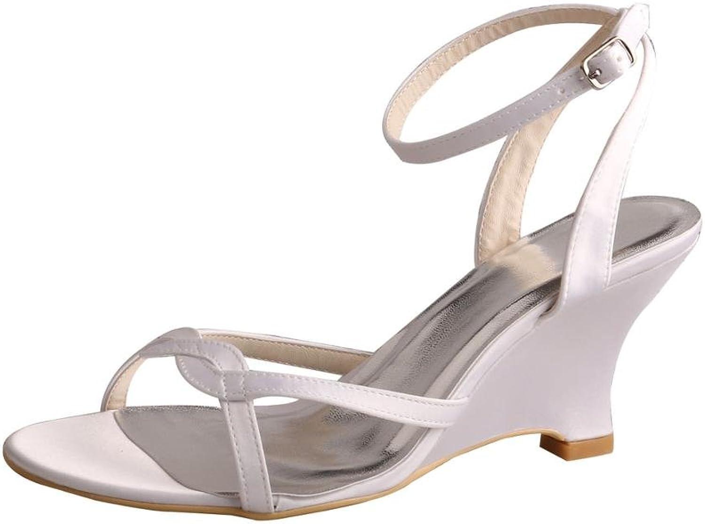 Wedopus MW308 Women's Satin Buckle Strap Wedge Heel Sandal Party Bridal Wedding shoes