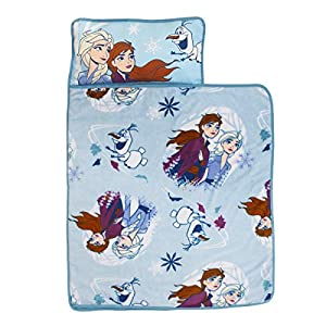 Disney Frozen 2 – Spirit of Nature Padded Nap Mat with Built in Pillow, Blanket & Name Label, Blue, Purple, Yellow
