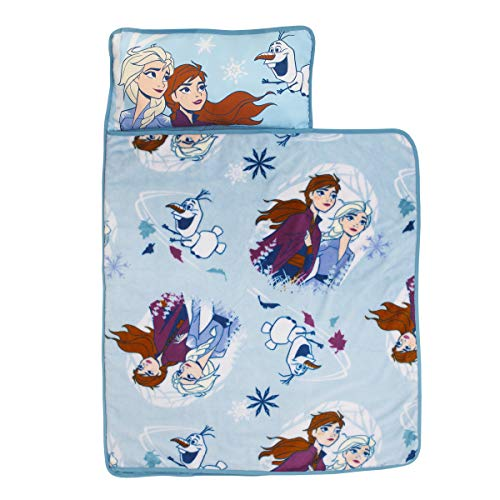 Disney Frozen 2 - Spirit of Nature Padded Nap Mat with Built in Pillow, Blanket & Name Label, Blue, Purple, Yellow