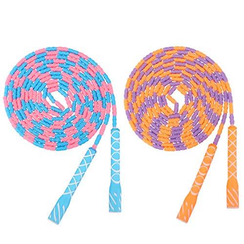 MoKo Kinder Springseil, 2 Stück 16ft Jump Rope mit Perlen Einstellbare Segmentierte Ohne Gewirr Springschnur Workout Fitness Schulsprungseil für Männer Frauen Kinder 4-5 Seilspringer - Blau/Orange