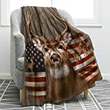 Jekeno Blanket US Flag with Deer Forest Soft Warm Print Throw Blanket Adults Gift Sofa Chair Bed Office 50'x60'