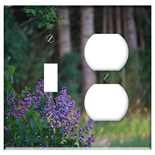 2-Gang, Toggle Outlet Combination Wall Plate Cover - Nature Lilac Decorative Bush Purple Blossom Bloom