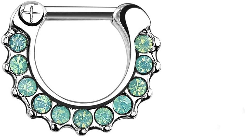 Urban Body Jewelry 16G Green Opalite Brass Septum Clicker
