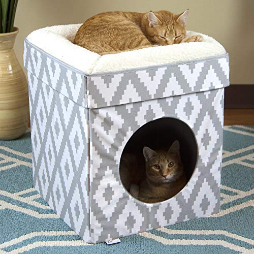 Kitty City Large Cat Bed, Stackable Cat Cube, Indoor Cat House/Cat Condo, White,...