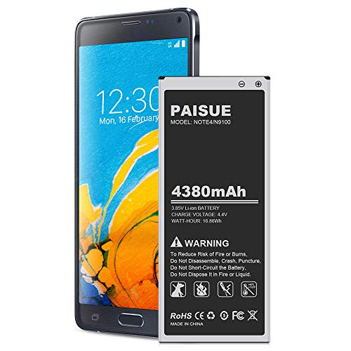 Galaxy Note 4 Battery, 4380mAh [Upgraded] Li-Polymer Replacement Battery for Samsung Note 4 N910, N910A(AT&T), N910P(Sprint), N910T(T-Mobile), N910V(Verizon), N910U LTE