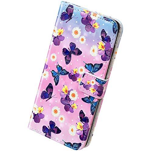 Herbests Kompatibel mit Huawei P40 Hülle Handytasche Leder Handyhülle 3D Bunt Glitzer Bling Glänzend Schutzhülle Flip Case Brieftasche Klapphülle Wallet Tasche,Schmetterling