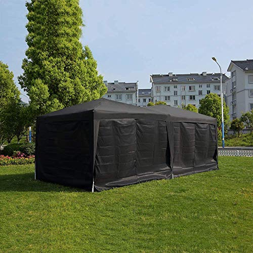 Quick Tent 6 x 3m Heavy-Duty Waterproof pop-up Gazebo with Sides and Bags #170g PU Coated Fabric # Easy to Set up,Black