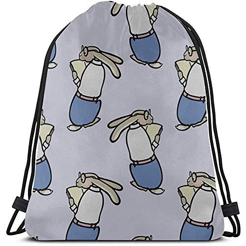 BOUIA Cartoon dier lezen koordsluiting, tassen, polyester, trekkoord, toilettas voor fitnessstudio, reis