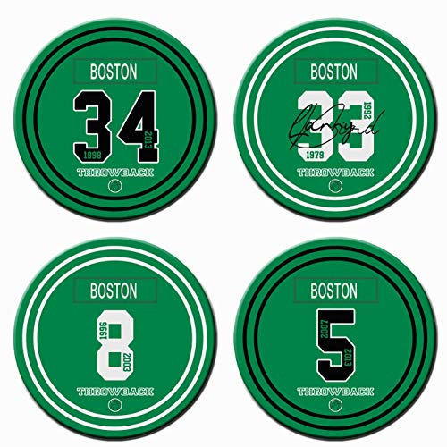 32 Options, AARONIE Boston Basketball Coasters for Drinks, Absorbent Ceramic Coaster Sets of 4 with Cork Base, Suitable for Cups Wine Cold Drinks Glasses Mugs, Celtic Gifts for Men